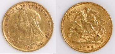 Victoria Half Sovereign, 1899, St George and the Dragon reverse