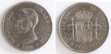 Spain, Alfonso XIII 5 Pesetas, 1888