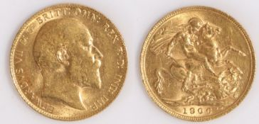 Edward VII Sovereign, 1906, St George and the Dragon reverse