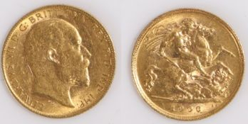Edward VII Half Sovereign, 1906, St George and the Dragon