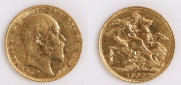Edward VII Australian Sovereign, 1907, Perth mint, St George and the Dragon reverse