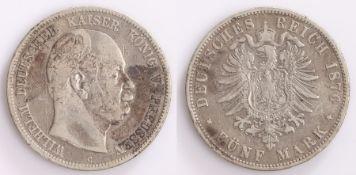 Germany, Wilhelm Funf Mark, 1876
