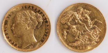 Victoria Sovereign, Young Bust, 1886, St George and the Dragon reverse