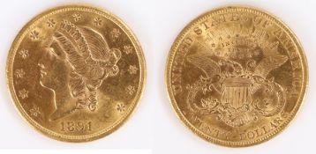 USA Gold Twenty Dollars, 1891, Liberty Head, San Francisco mint