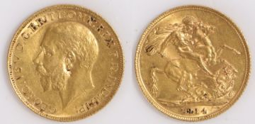 George V Sovereign, 1914, St George and the Dragon reverse
