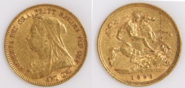 Victoria Half Sovereign, 1893, St George and the Dragon reverse