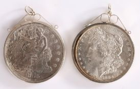 Two USA Silver 1 Dollars, 1876 and 1884, both mounted, (2)