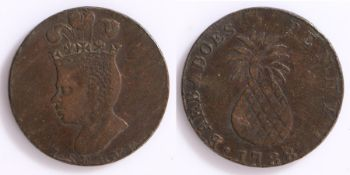 West Indies, Barbados George III copper Penny. (1760-1820), 1788, I.SERVE to the obverse, reverse