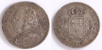 France, Louis XVIII (1814-24), 5-Francs, 1814 M