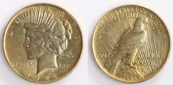USA Silver gilt 1922 Dollar