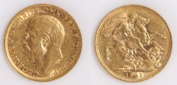 George V Sovereign, 1911, St George and the Dragon reverse