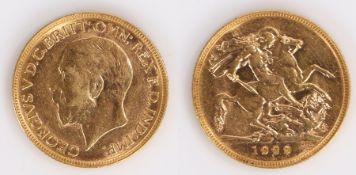 George V Australian Sovereign, 1929, Perth Mint, St George and the Dragon reverse