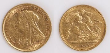 Victoria Half Sovereign, 1900, St George and the Dragon reverse