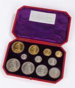 Great Britain, 1887 eleven coin specimen coin set, Queen Victoria jubilee, gold £5, £2, Sovereign