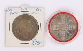 George III Three Shilling Bank Token, 1814, together with a Victoria 1887 Double Florin, (2)