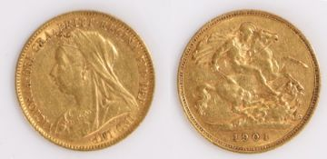 Victoria Half Sovereign, 1901, St George and the Dragon reverse