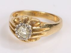 18 carat gold diamond set ring, with a 0.30 carat diamond set to the head, ring size N
