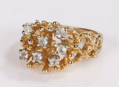 Gold plated ring, set with clear stones to the branch effect shank, ring size S