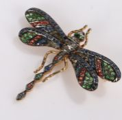 14 carat gold dragonfly brooch, set with emeralds, sapphires and rubies, 48mm diameter