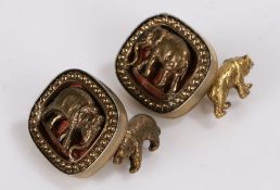 Pair of Russian silver gilt cufflinks, with elephants to the front and bears to the back