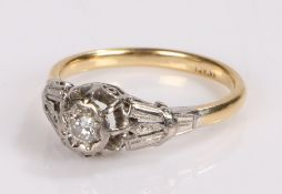 18 carat gold diamond set ring, with a central diamond to the head, ring size Q