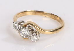 Diamond set ring, with three round cut diamonds to the head, ring size K