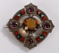 Scottish brooch, with agates and cabochon cut stones, registration mark to the back, 50mm diameter