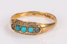 Victorian 15 carat gold turquoise set ring, with turquoise set to the head, ring size J1/2