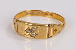 18 carat gold diamond set ring, with three diamonds to the head, ring size N1/2