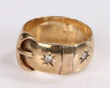 9 carat gold buckle ring, with a clasp design to the head, 8 grams, ring size U1/2