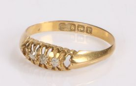 18 carat gold diamond set ring, with three diamonds to the head, ring size P