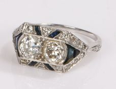 Art Deco diamond and sapphire set ring, with two round cut diamonds with a diamond and sapphire