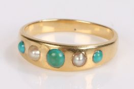 Pearl and turquoise set ring, with a row to the head and yellow metal shank, ring size L