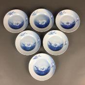 Sechs Obstteller / Dessertteller - Bing & Groendahl Dänemark, Weißporzellan mit unterglasurblauem,