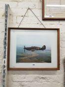 FRAMED PRINT OF 2ND WORLD WAR HURRICAINE FIGHTER AEROPLANE IN FLIGHT