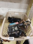 BOX OF OLD CAMERAS AND EQUIPMENT