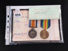 WW1 MEDAL PAIR - PTE JOHN RIDDELL - ROYAL SCOTS