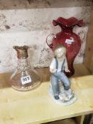 NAO, RUBY VASE AND SILVER MOUNTED DECANTER