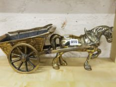HEAVY BRASS HORSE AND CART