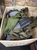 BOX OF POLICE/ARMY PERSONAL PROTECTION ITEMS