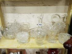 SHELF LOT OF CUT GLASS