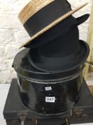 COLLECTION OF HATS AND CASE