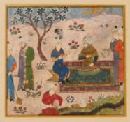 Rostam in conversation with a Prince, miniature on paper [Timurid Persia, c. 1400]