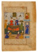 An enthroned Zal and Rudabeh, manuscript on polished paper [Safavid Persia, c. 1580]