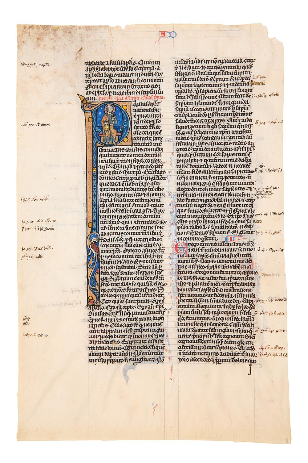 Leaf from a Bible, in Latin, manuscript on parchment [Northern France...