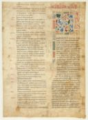 Ɵ Vast white vine initial in Latin, manuscript on parchment [Italy, 12th century]