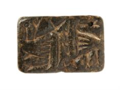 ‡ Stamp seal with quadrupeds, on steatite or chlorite block [Near East, 5th or 4th millennium BC]