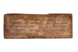 ‡ Quotations from Isocrates and Menander, in Attic Greek, wooden tablet [Egypt, 4th or 5th century]