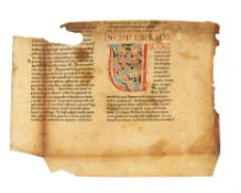 Atlantic Bible leaf with white vine initial, in Latin, manuscript on parchment [Italy, 12th century]