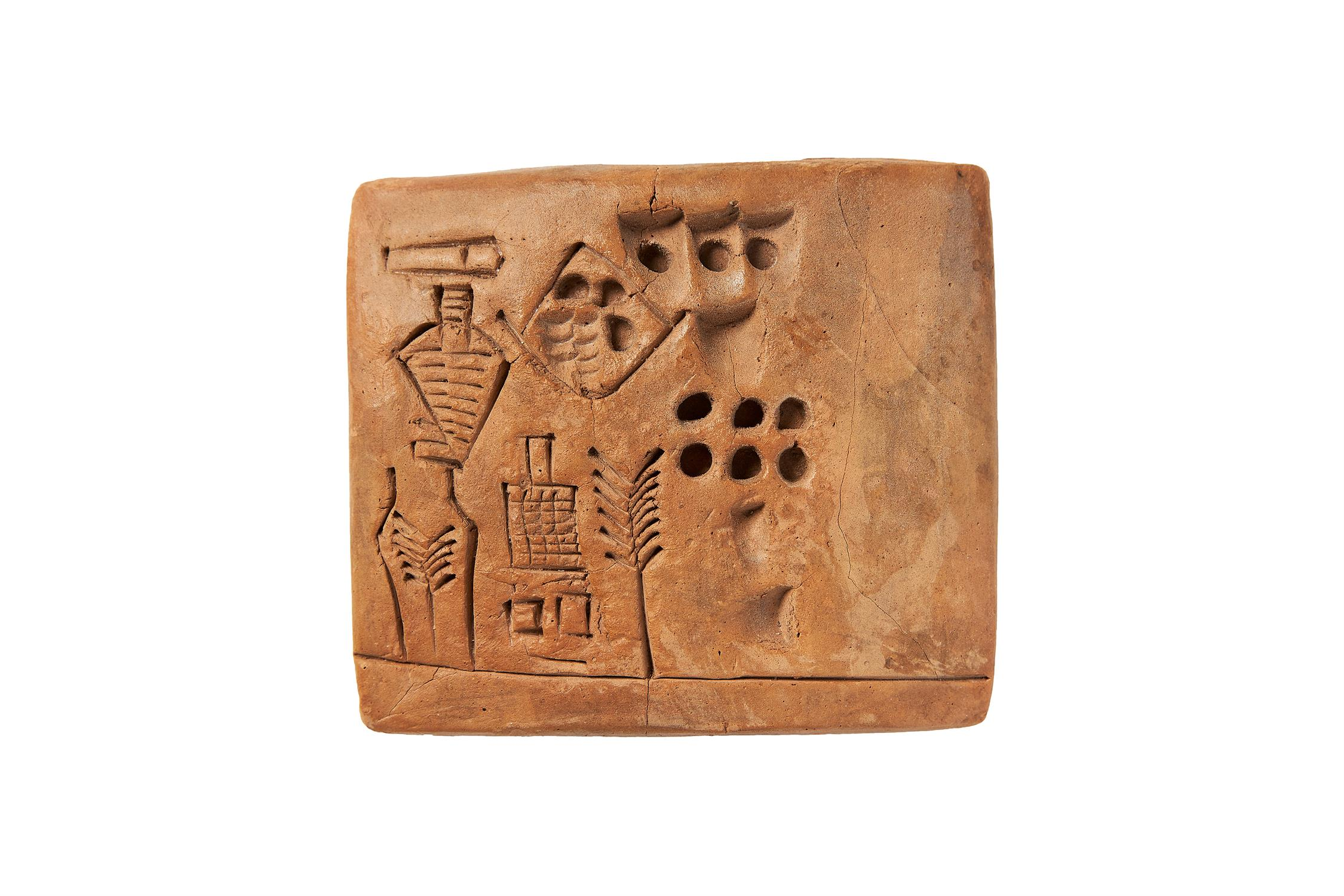 Lot 3 - ‡ The Kushim Clay Tablet, fine pictographic tablet [Sumer, Uruk III period (31st century BC.)]
